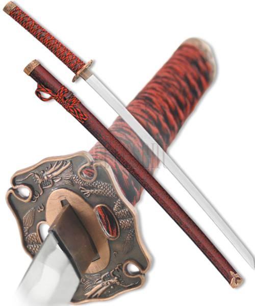 Японский самурайский меч Катана Красный Дракон, D-50021