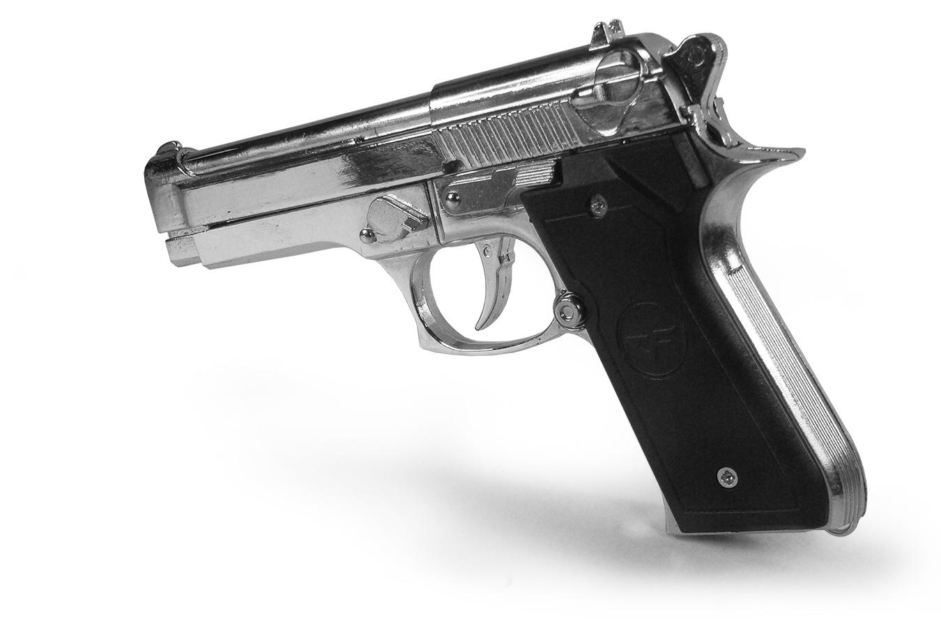 Макет пистолета Beretta 92FS, 15 см серебристая