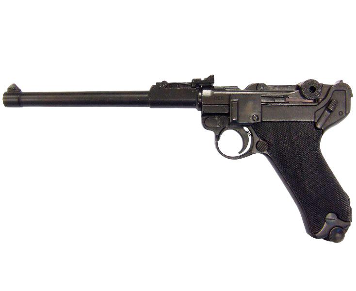 Макет пистолета от Denix Luger P08 артилерристский в масштабе 1:1