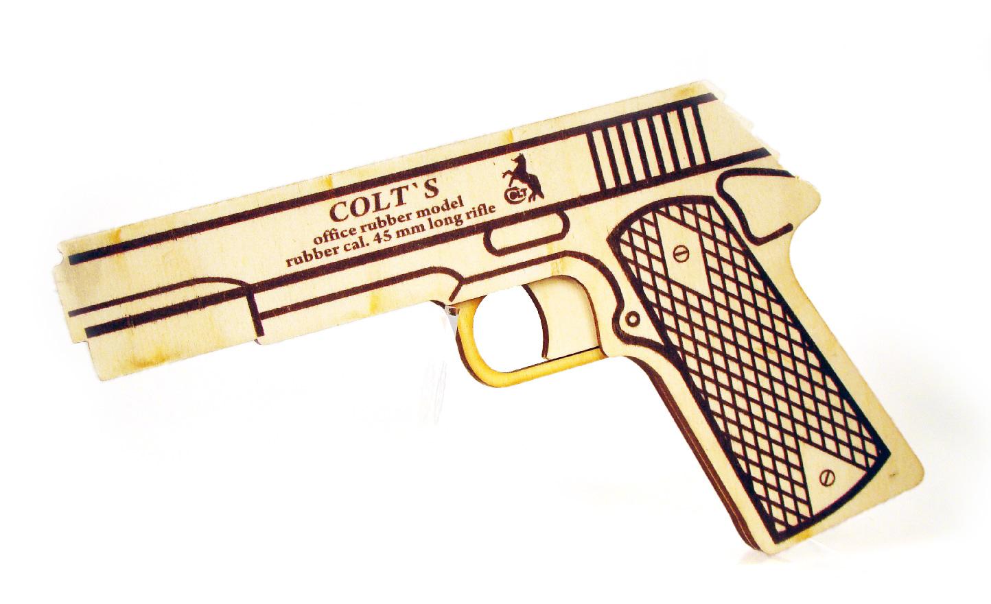 Деревянный пистолет Colt 1911 стреляющий резинками